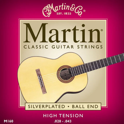 Martin M160 Silverplated Ball End High Tension Classic Guitar Strings 28-43