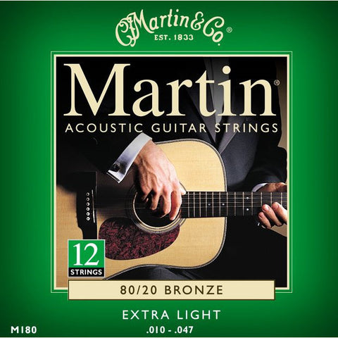 Martin M180 12-String 80/20 Bronze Extra Light Acoustic Guitar Strings 10-47