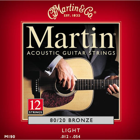 Martin M190 12-String 80/20 Bronze Light Acoustic Guitar Strings 12-54