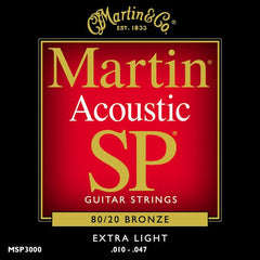 Martin MSP3000 SP 80/20 Bronze Extra Light Acoustic Guitar Strings 10-47