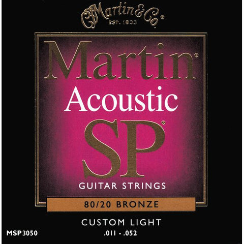 Martin MSP3050 SP 80/20 Bronze Custom Light Acoustic Guitar Strings 11-52