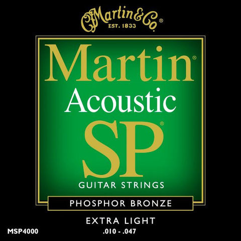 Martin MSP4000 SP Phosphor Bronze Extra Light Acoustic Guitar Strings 10-47