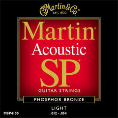 Martin MSP4100 Phosphor Bronze Light Acoustic Guitar Strings 12-54
