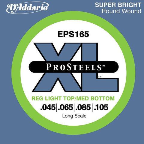 D\'Addario ProSteels EPS165 Light Top-Medium Bottom Long Scale Bass Strings 45-105
