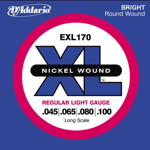 D'Addario EXL170 Nickel Wound Bass Strings Light Gauge/Long Scale 45-100