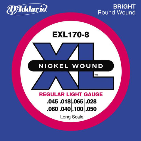 D\'Addario EXL170-8 Nickel Wound Electric Bass 8 String Light/Long Scale 45-100