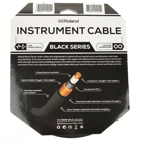 "Roland Black Series 20ft A/S 1/4"" Instrument Cable"