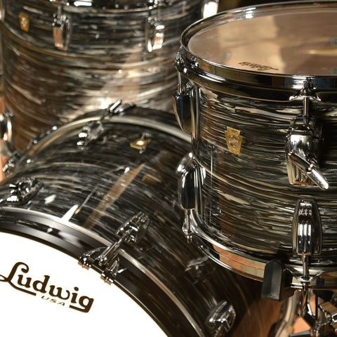 Ludwig 13/16/22 Classic Maple Kit Vintage Black Oyster w/ Free 6.5x14 Snare