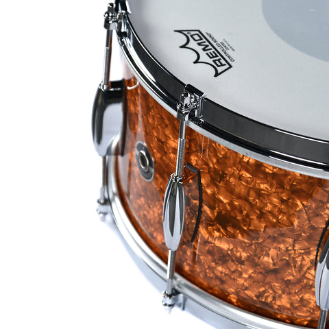Q Drum Co. 7x14 Mahogany Copper Marine Pearl Inlay Snare Drum w/Single Flange Hoops