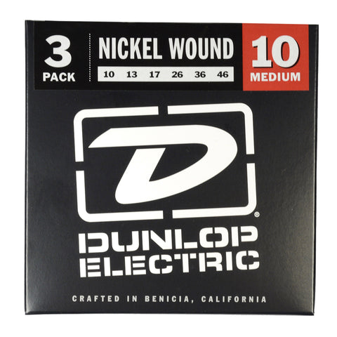 Dunlop Strings Electric Nickel Plated Steel Medium 10-46 3-Pack