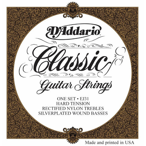 D'Addario EJ31 Classic Rectified Nylon Sylver Wound Hard Tension Strings