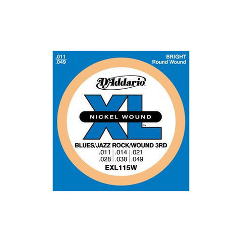 D'Addario EXL115W Blues/Jazz Nickel Wound 3rd Electric Guitar Strings 11-49