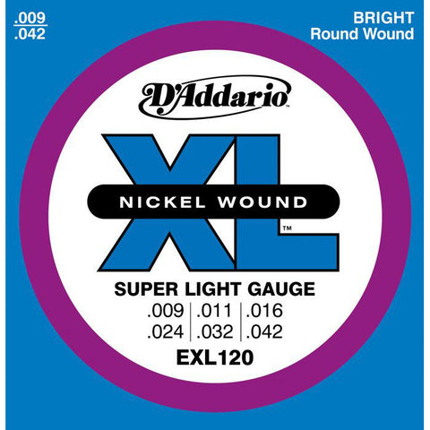 D'Addario EXL120 Extra Light Electric Guitar Strings 9-42