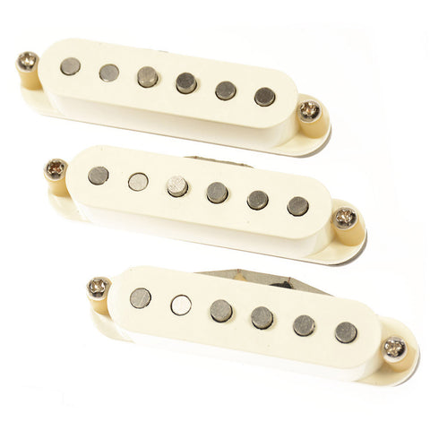 Bare Knuckle Irish Tour Strat Single Coil Pickup Set Staggered RW/RP Parchment