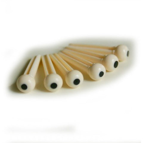 Allparts Bridge Pins Dotted - White Plastic (6 pieces)