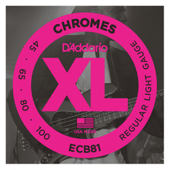D'Addario ECB81 XL Chromes Flat Wound Bass Strings Long Scale 45-100