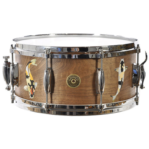 Gretsch 6.5x14 Solid Walnut Snare Drum w/Koi Fish Mother Of Pearl Inlays 1 of 1 2014 NAMM Show