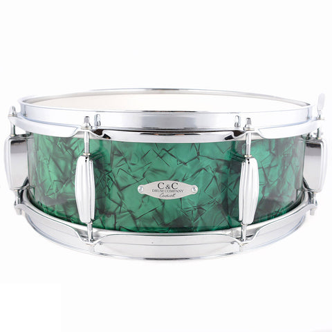 C&C 5x14 Maple/Gum 8 Lug Snare Drum w/Triple Flange Hoops Vintage 70s Emerald Green Pearl