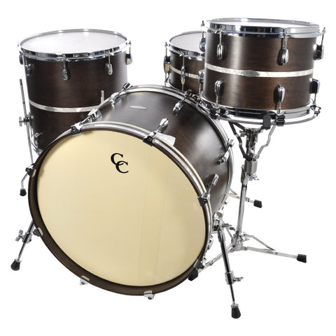 C&C 4 Piece Maple Gladstone Drum Kit Walnut Stain With Inlay 13/16/22/6.5x14