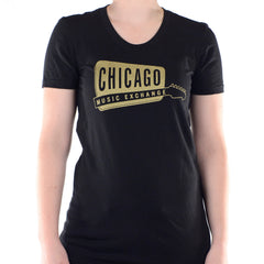 Chicago Music Exchange Women's T-Shirt Black/Gold Classic Logo