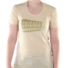 Chicago Music Exchange Women's T-Shirt Creme/Gold Classic Logo