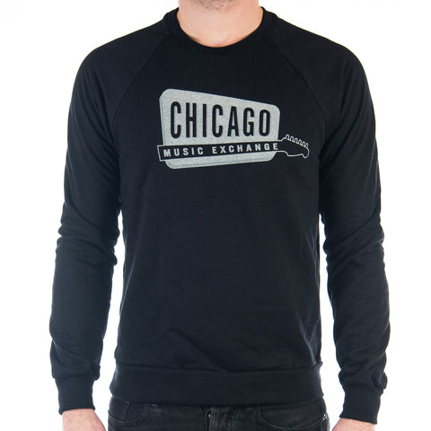 Chicago Music Exchange California Fleece Raglan Black w/ Cream Logo