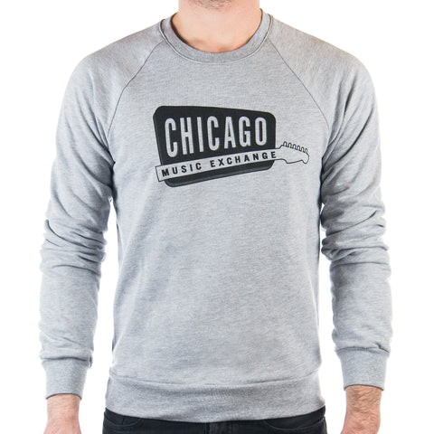 Chicago Music Exchange California Fleece Raglan Grey w/ Black Logo