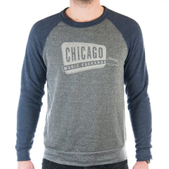 Chicago Music Exchange Color-Block Champ Sweatshirt Eco Grey/Eco True Navy w/ Cream Logo