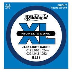 D'Addario EJ21 Nickel Jazz Light Guitar Strings 12-52