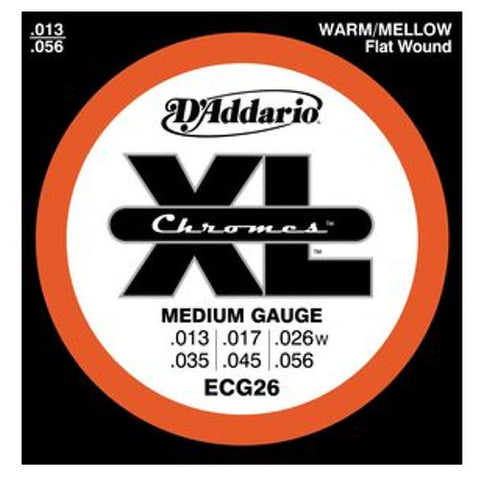 D'Addario ECG26 XL Chromes Ribbon Wound Electric Guitar Strings 13-56