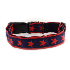 "Souldier Dog Collar 1"" Rebel Red Star (Navy Belt) Medium"