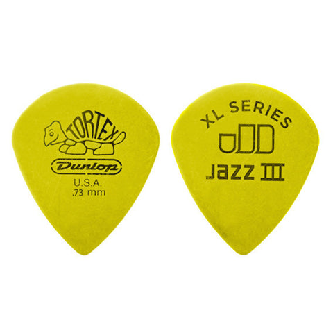 Dunlop Tortex Jazz III Guitar Picks XL Yellow .73mm Player's Pack (12)