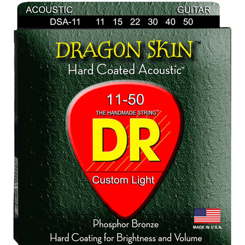 DR Strings DSA-11 Dragon Skin K3 Coated Medium-Light Acoustic Strings 11-50