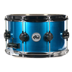 DW 7x12 Snare Drum Blue Anodized Stainless Steel Lacquer w/Black Nickel Hardware
