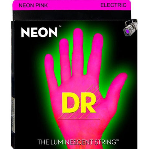 DR Strings Neon Phosphorescent Pink Light 9-42 Electric Guitar Strings