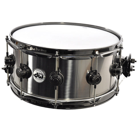 DW 6.5x14 Titanium Rolled 1mm Shell Snare Drum Black Hardware