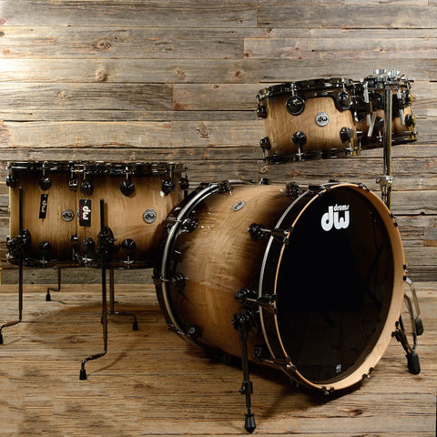 DW Exotic 10/12/14/16/22 5pc Drum Kit Natural to Candy Black Burst Over Curly Maple w/ Black Nickel Hdwr
