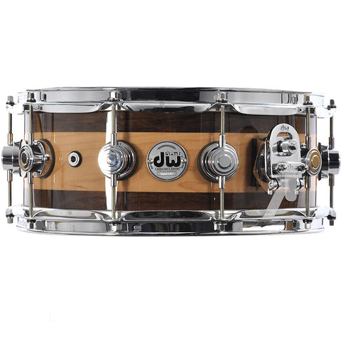 DW 5.5x14 Super Solid Edge Collector's Snare Natural Lacquer over Maple w/Walnut Rings
