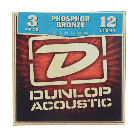 Dunlop Strings Acoustic Phosphor Bronze 12-54 Light  3-Pack