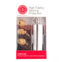 EarPeace Original Silver Case Tan Earplugs