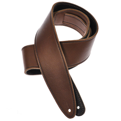 El Dorado Durango Suave Leather Guitar Strap 2.5 Inch - Congac & Chocolate