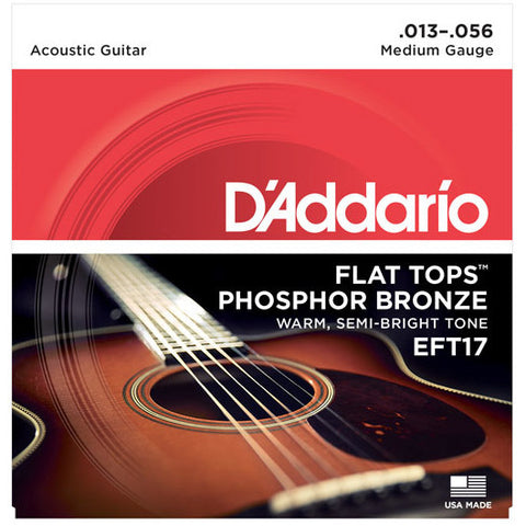 D'Addario EFT17 Acoustic Flat Top Phosphor Bronze Medium 13-56
