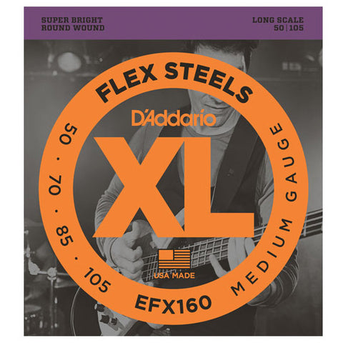 D\'Addario EFX160 FlexSteels Bass Medium 50-105 Long Scale