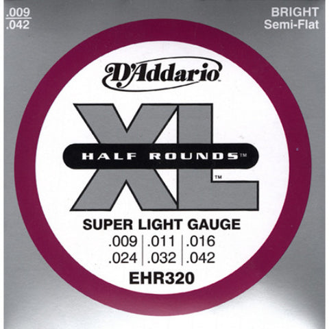 D'Addario EHR320 Half Round Super Light Electric Guitar Strings 9-42
