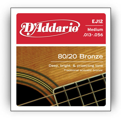 D'Addario EJ12 Acoustic 80/20 Bronze Medium 13-56