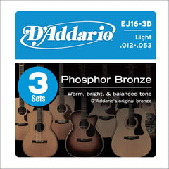 D'Addario EJ16-3D Acoustic Phosphor Bronze Light 12-53 3-Pack