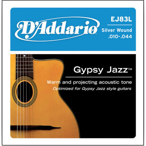 D'Addario EJ83L Gypsy Jazz Silver Wound Ball End Light 10-44 Acoustic Guitar Strings