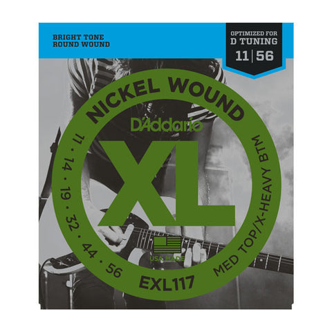 D'Addario EXL117 Electric Medium Top/Extra Heavy Bottom 11-56