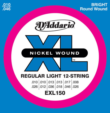 D'Addario EXL150 Nickel XL Electric Guitar Strings 12 String 10-46/26