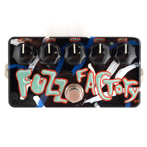 Zvex Fuzz Factory Custom Hand Painted Green/Red Text over Black/Blue/White by McGrath
